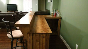 Custom made solid wood bars and kitchen islands