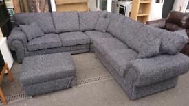 Large corner sofa and footstool