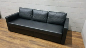 Ikea Friheten Sofa Bed- Black Leather