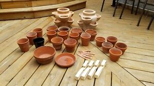 2 Large Earthenware Strawberry Pots & Assorted Clay Pots