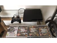 PS3 250gb with controller GTA games and gran turismo 5