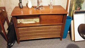 Console Record Player and Short Wave Radio