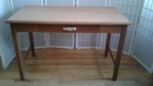 Large Honey Colored Wood Desk with One Drawer