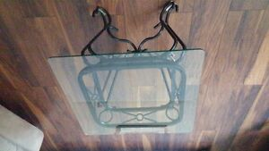 bevelled glasstop accent table