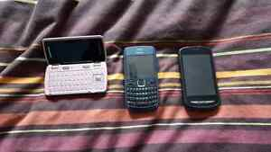 3 cell phones. Flip is telus. Nokia unlocked. Android public mob