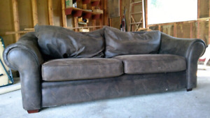 Very comfortable brown suede sofa