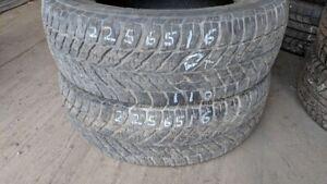 Pair of 2 Goodyear UltraGrip Winter 225/65R16 WINTER tires (55%