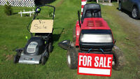 Ride on lawn mower / Battery operated push mower