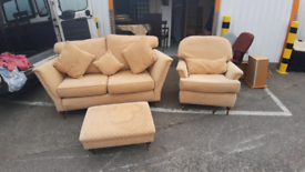 Lovely stylish sofa ,chair and pouffee. Gc delivery possible