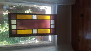 """Antique Stained Glass Window in Wood Frame   Dormer 40""""X19"""""""