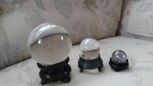Three Authentic Crystal Balls with Holdres