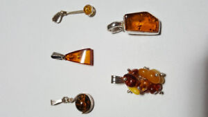 Amber Stone Pendants - Sterling Silver
