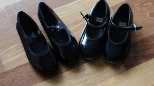 Girls black patent leather tap shoes - Size 12N and 1M