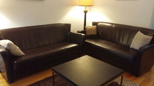 Two Leather Sofas + IKEA Table (free)-- Excellent Condition