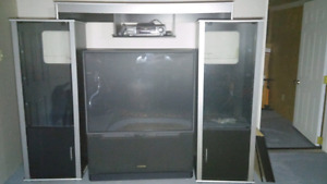 Black & Silver Glass Doors Entertainment Centre Cabinet System