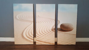 CANVAS ART - 3 pc Zen Stone (used) $75 obo - pick up only