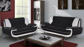 ❤️➩➪➫➬➭➮➯BEST QUALITY❤️FAUX LEATHER❤️3+2 SOFA❤️⌛EXOTIC TWO TONE COLOUR CHOICES⌛❤️EXPRESS DELIVERY❤️