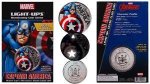 2017 Fiji Marvel Light-Ups Captain America Silver Plated Coin