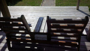 muskoka solid wood double chairs attached table