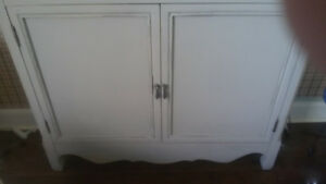 handpainted gray multi-use storage cabinet