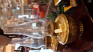 EMBOSSED BRASS BANQUET OIL LAMPS with chimneys  circa 1890 London Ontario image 5