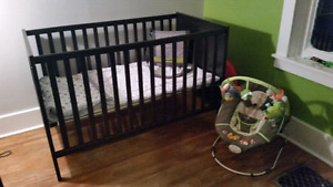 Crib and change table