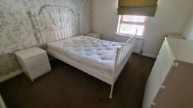 2 White metal double bed frame