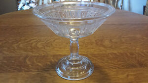 Beautiful Antique Clear Glass Fruit Bowl With Pedestal For Sale!