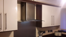 Kitchen units,gas hob ,sink,curved glass cooker hood