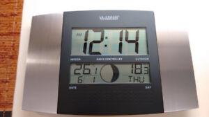 La Crosse Atomic Wall Clock w/ Indoor/Outdoor Thermometer