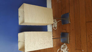 Matching steel based lamps with beige paper shades