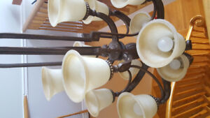 Main stair light fixture with matching hall fixture