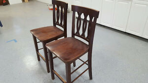 """2 Used Solid Wood Counter Stools - 24"""" High"""