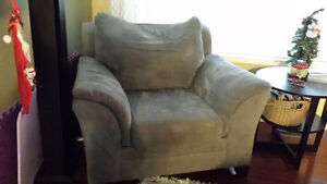 Grey chair and loveseat