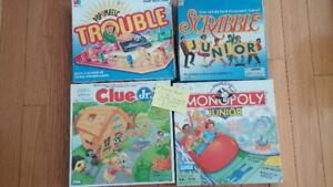 Junior Board Games. Scrabble, Monopoly, Trouble and Clue