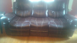 Leather Couch love seat and chair