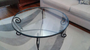 Glass and Black Iron Coffee Table