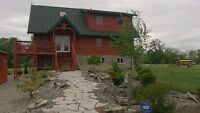 Water Front Cedar Log Home w 6.25 Acre on Thames River