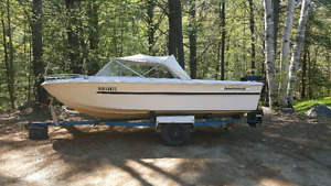 16' Peterborough boat with trailer and 65hp mercury motor