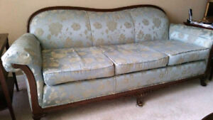 Antique Couch, Arm Chair and Foot Stool