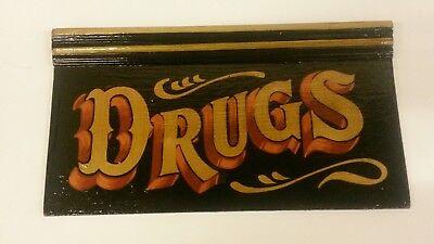 DRUGS APOTHECARY CHEMIST PHARMACY BOTTLE POT LID OINTMENT EYE BATH VINTAGE SIGN