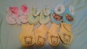5 pairs of baby booties/ slippers