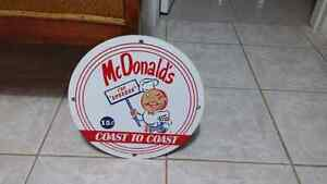 Vintage metal mcdonalds sign