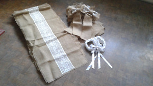 Burlap  wedding  pew bows and table runners