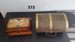 Box with map + chest, rustic, travel themed decor