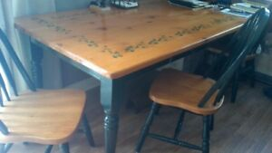7 foot Harvest Table with 6 matching chairs