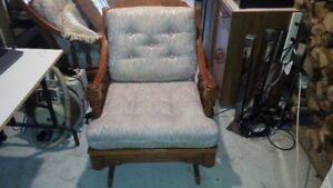 Solid wood rocker and matching couch