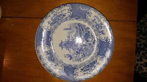 """Beautiful English Flow Blue porcelain plate by Allerton's, """"Chin"""