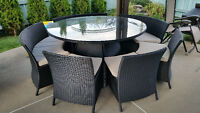 ROTIN RATTAN PATIO LOUNGE SET DINING TABLE CHAIR SOFA KIT MINT
