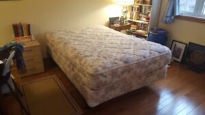 Double Bed - box spring, mattress and steel frame